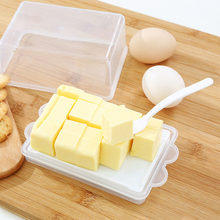 Kunststoff Butter Lagerung Box Behälter Transparent Käse Server Keeper Tablett Mit Messer & Partition Japan Original Butter Gericht Box(China)