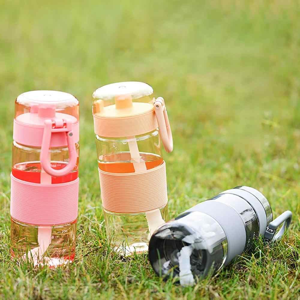 성인 어린이를위한 짚으로 야외 절연 물병 스포츠 병 뚜껑 하이킹 캠핑 플라스틱 물 주전자와 환경 친화적 인