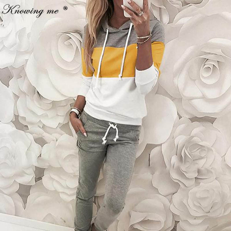 New Spring Women's Tracksuit Set Lady Patchwork Hooded Sportswear Suit  Two Piece Set Jumpsuit Long Sleeve Pullover+Gray Pants
