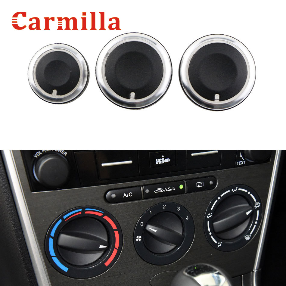 3Pcs/set Aluminum Alloy Air Conditioning Knobs Switch Knobs Heater Climate Control Buttons For Mazda 6 2006 - 2015 Ac Knob Parts