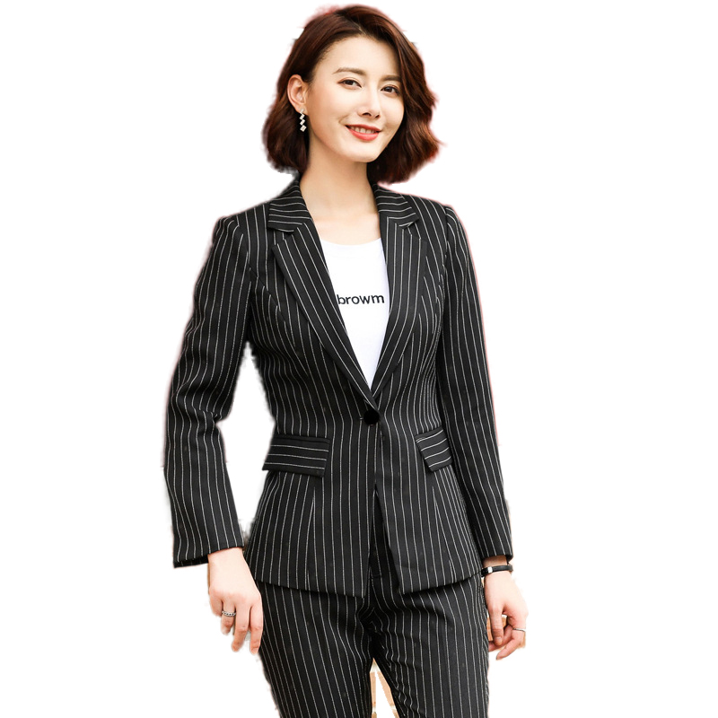 Fashion Temperament Striped Women Pant Suit Casual Professional Slim Korean Women's Small Suit High Quality OL Blazer Work Wear