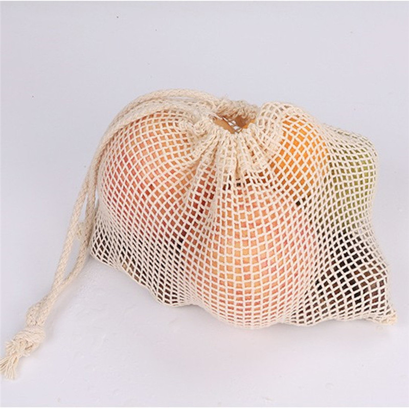Women Kitchen Home Vegetable Shopping Bags Eco Cotton Shopping Bag Vegetable Bags Reusable Storage Mesh Bags Fabric Tote Bag