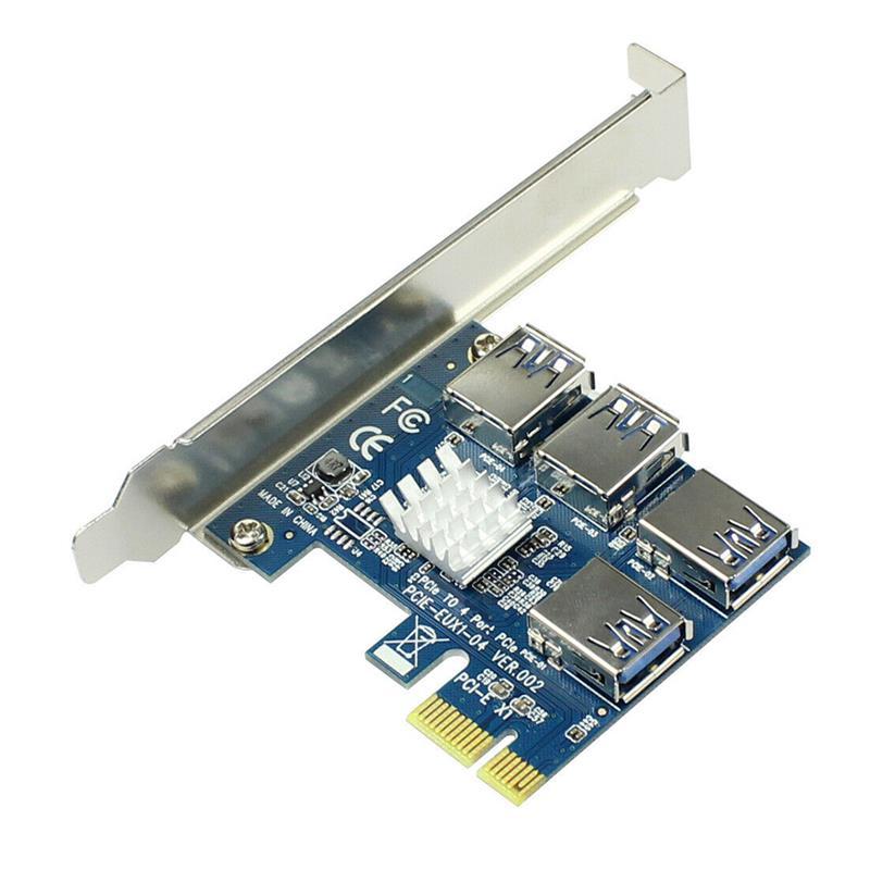 PCIe от 1 до 4 PCI-express 16X слоты, Райзер-карта PCI-E от 1X до External 4 PCI-e USB 3,0, адаптер, карта-усилитель для майнинга биткоинов, Новинка