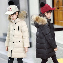 цена на Fashion Winter Thicken White Duck Down Long Child Coat Fur Collar Warm Baby Girl Boy Down Jacket Children Outerwear For 85-155cm