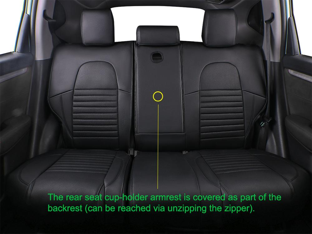 EKR Custom Fit Full Set Car Seat Covers for Select Honda CRV 2017 2018 2019 2020 Leatherette Black//Gray