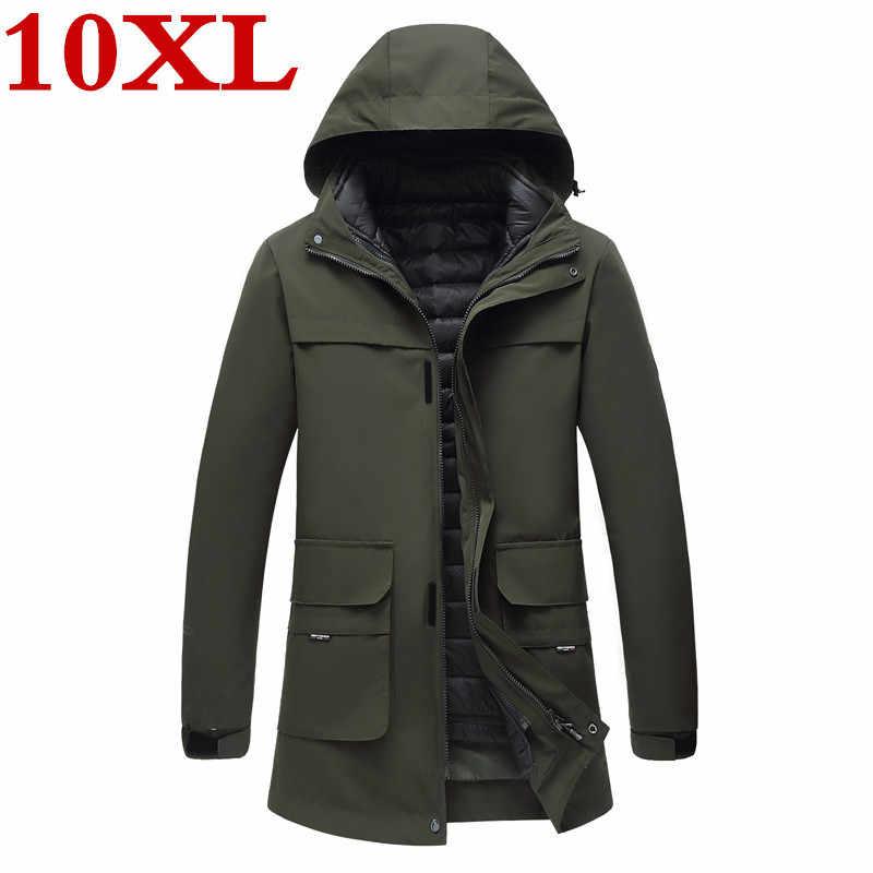 Neue plus größe 10XL 9XL 8XL 7XL 6XL Winter wasserdichte warme Jacken Und Mäntel Dicke Warme Mode Lässig 2 in 1 männer Parka