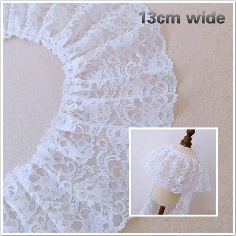Chất Lượng Cao Màu Trắng Voan Thêu Xếp Ly Phối Ren Tự Làm Áo Cưới Làm Chất Liệu Quần Áo Váy Viền Viền Phụ Kiện