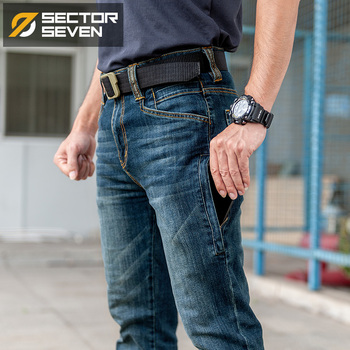 Sector Seven Men New Slim City Casual Jeans Mid Waist Straight Denim Jeans Classic Indigo Blue Black Jeans Wear-resistant