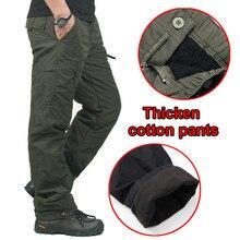 厚みウォームポケット貨物の戦術パンツ男性の冬の屋外の釣りキャンプ乗馬熱だぶだぶの綿長ズボン