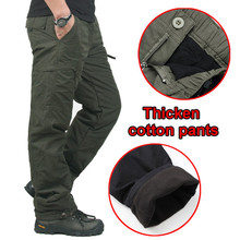 Fleece Thicken Warm Pocket Cargo Tactical Pants Mens Winter Outdoor Fishing Camping Riding Thermal Baggy Cotton Long Trousers