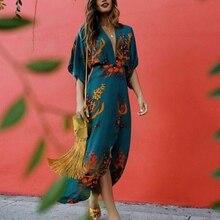 Women Dresses Summer Sexy V-Neck Floral Print Loose Stretch Waist Short Sleeve Dress все цены