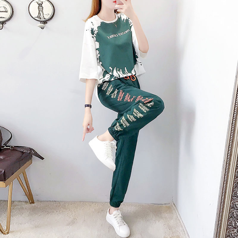 Sports Suit Female Summer Fashion 2020 New Loose Short-sleeved Foreign Casual Clothes Female Tracksuit 2 Piece Set Women