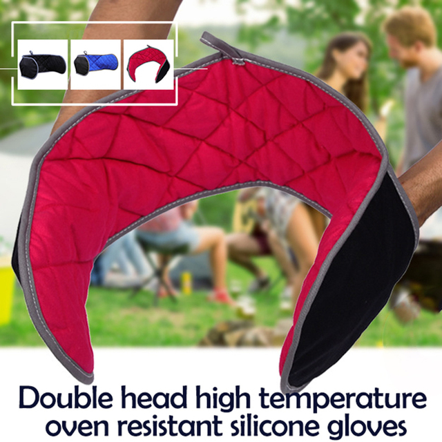 Gants Double tête avec coton long   Isolation en silicone, résistant aux hautes températures, gants rectangulaires épais, four anti sc