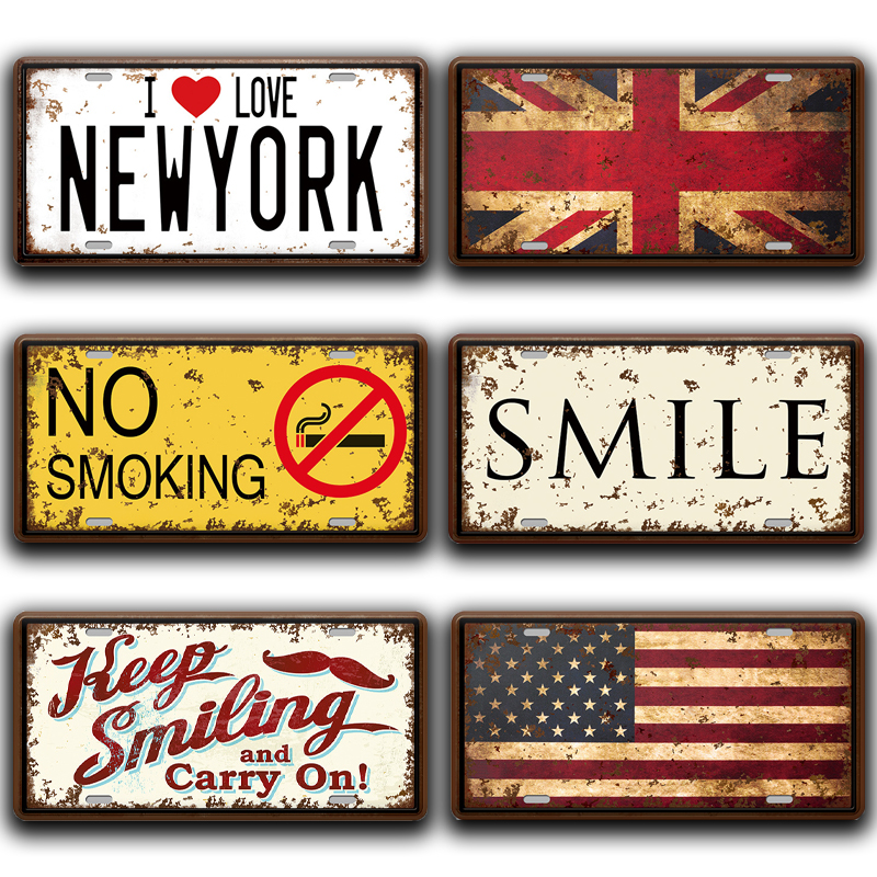 No Smoking Metal Signs Vintage Kitchen Home Decor Shabby Chic Beer Welcome Smile License Plate Wall Stickers Poster Tin Sign