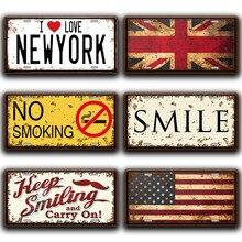 Señales de Metal para No fumar, decoración Vintage para cocina, hogar, pegatinas de placa de matrícula con sonrisa, cartel de estaño