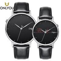 ONLYOU Fashion Women Watch Leather Band Heart shape Quartz Wristwatch Female Casual Men Clock Lover Gift 520006