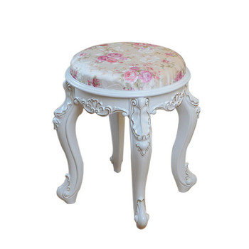 European minimalist white solid wood dressing table stool Korean pastoral   nail makeup chair bedroom sitting