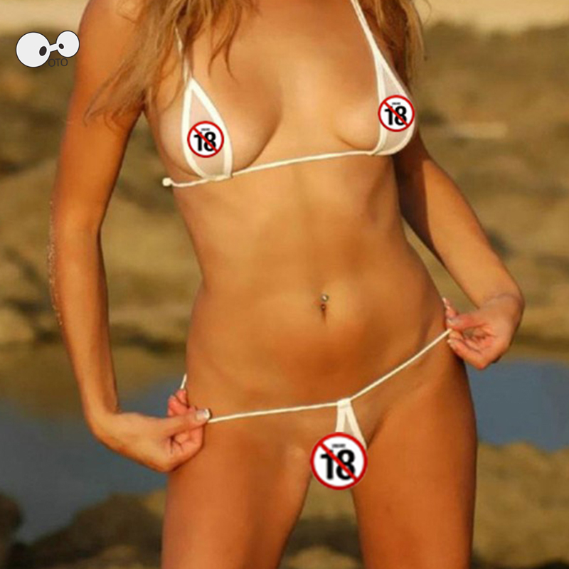 Hot Sexy Women Micro Thong Bikinis Underwear G-String Bra Mini Strings Teardrop Swimwear Transparent Mesh Beachwear Bathing Suit