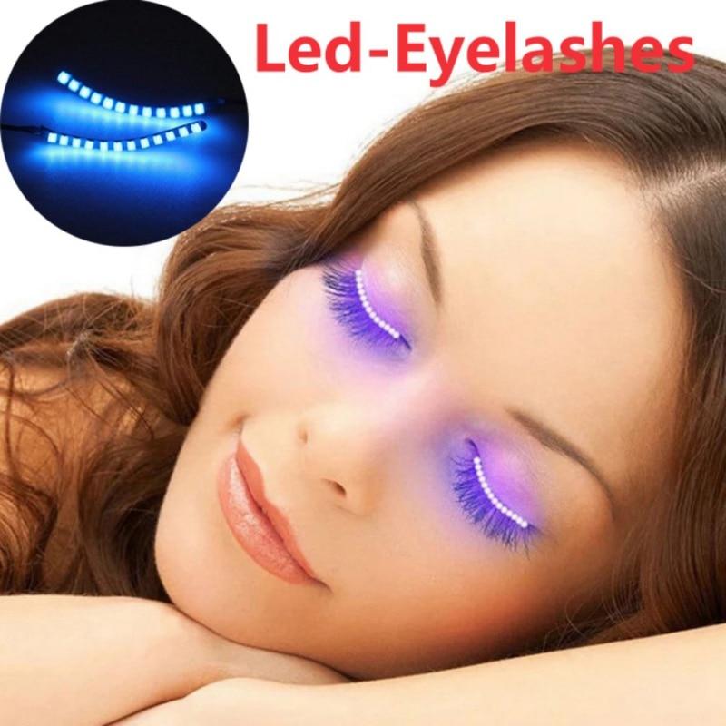 LED Eyelashes Waterproof Interactive Eyelash Shining Eyelid Tape For Party NightClub KTV Halloween SSwell Hot