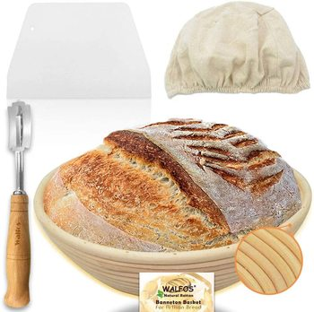 Walfos 10 Inch Round Banneton Proofing Basket Set - French Style Sourdough Bread Basket 100% Natural Rattan Hand Crafted Bread