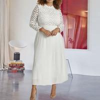 Plus Size 5xl Lace Long Pleated Dress White Elegant Women High Waist Party Maxi Dresses Autumn Fall Ladies Work Wear Big Sizes