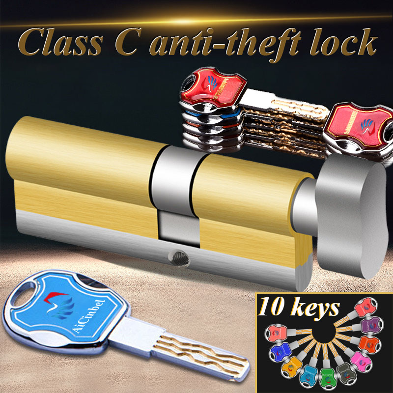 Anti theft Door Lock C Grade Copper Locking Cylinder Security Lock Core Cylinders Key 65mm 110mm Door Cylinder Lock with 10 keys|Locks| |  - title=