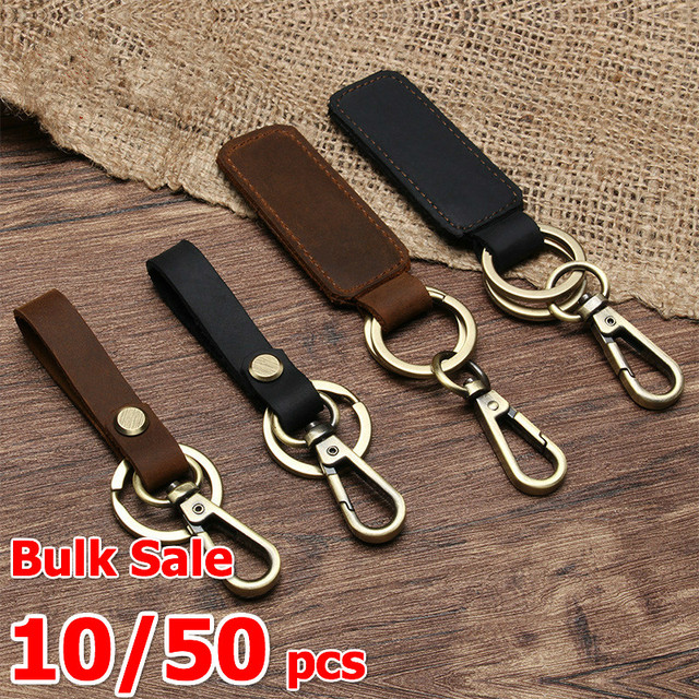 10/50 Pcs/lots Wholesale Bulk Genuine Leather Women Small Gift Handmade Purse Keychain Car Key Ring Arts and Crafts for Men