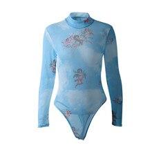 Sexy Jumpsuit Bodysuits Mesh Angel-Print Long-Sleeve Streetwear Party-Body High-Neck
