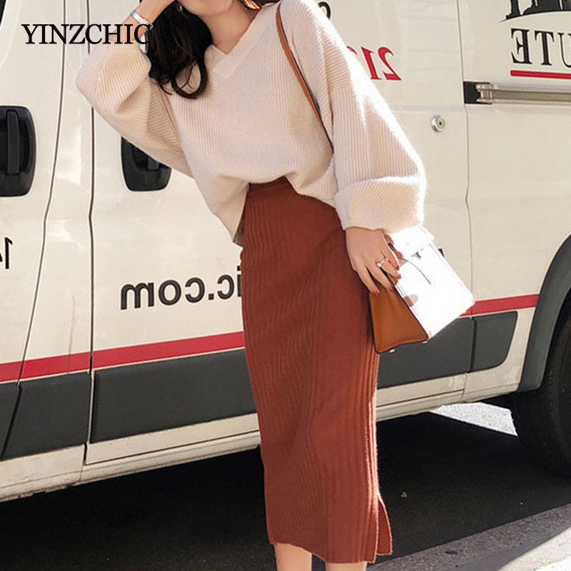 Hot Woman Autumn Knit Two Pieces Suit Solid Female Casual Sweater Pencil Skirt Sets Winter Warm Knitted Two Pieces Suits Woman