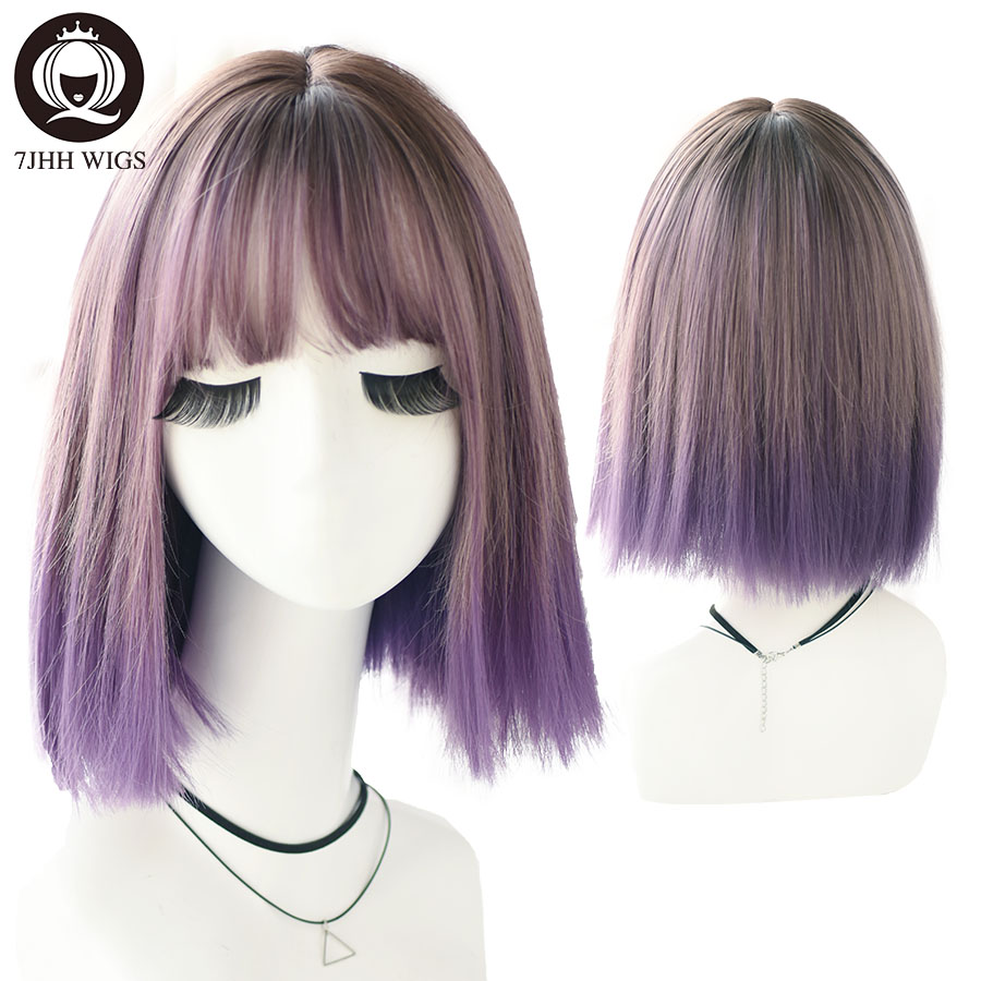 7JHH WIGS Lolita Wig With Bangs For Women Short Omber Purple Remy Hair Gothic Wig Noble Semi Handmake Fake Scalp Cosplay Wigs