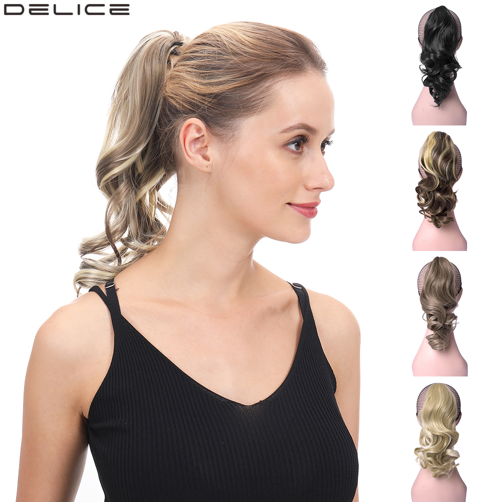 DELICE Short Curly Claw Ponytails Ombre Hair Extensions Synthetic Clip-in Little Pony Tail Hairpieces