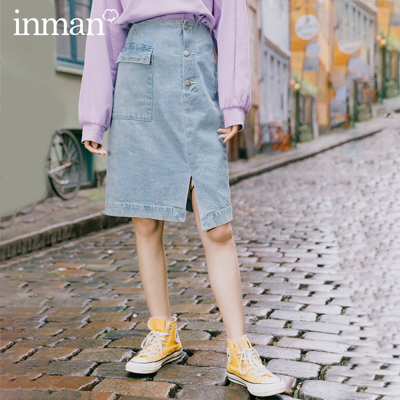 INMAN 2020 Spring New Arrival Literary Pure Cotton Irregular Lower Hem Personality Wash Jean Skirt