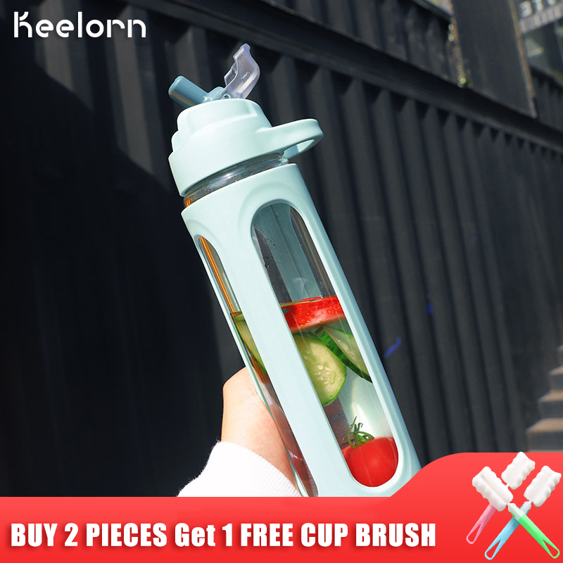 Keelorn 600ml LeakProof Handle Travel Fashion Portable Drinking Large Capacity Water Bottle Glass Sports With Straw|Water Bottles| |  - AliExpress