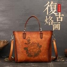luxury Handmade Genuine Leather Women Handbag 2020 New Casual Tote Large Capacity High Quality Shoulder&crossbody Bags