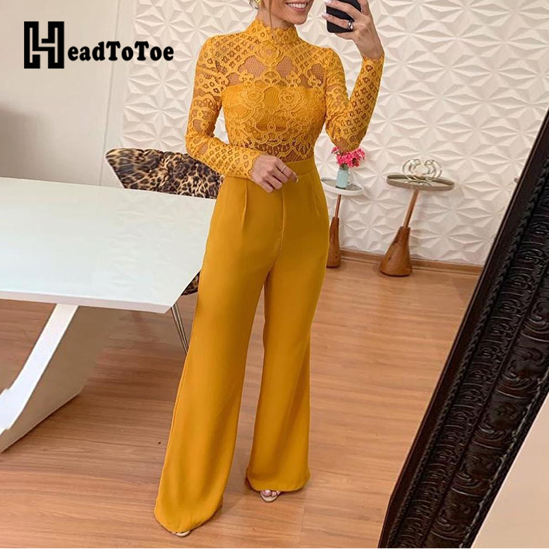 Mock Neck Sexy Lace Bodice Insert Bell-Bottom Jumpsuits Women Long Sleeve Casual One Piece Overalls Jumpsuits