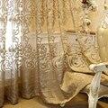 Европейские роскошные темно-золотые тюлевые шторы с вышивкой жаккардовые прозрачные панели для гостиной спальни Королевский домашний дек...
