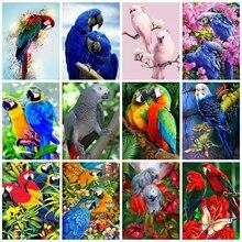 Huacan – peinture diamant motif perroquet, broderie 5d, décoration de maison, mosaïque d'oiseau, cadeau fait à la main