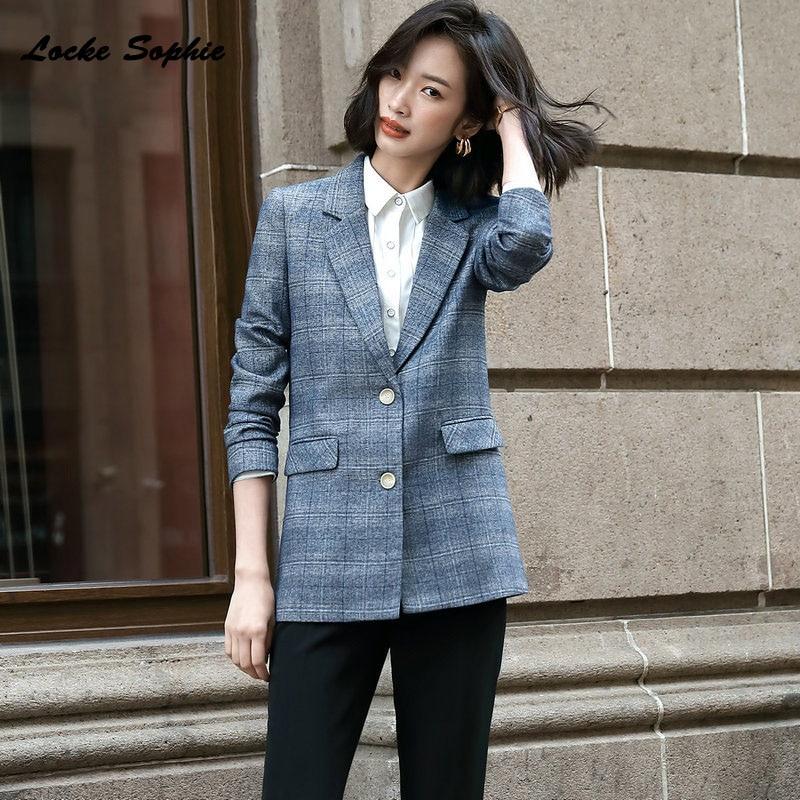 1pcs Women Plus Size Long Blazers Coats 2019 Winter Cotton  Plaid Small Suits Jackets Ladies Skinny Office Blazers Suits Coat