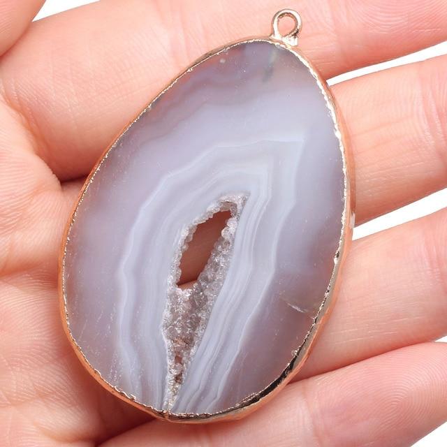 Piedra Natural Gris gata collar colgantes irregulares Agats colgantes para fabricaci n de joyer a DIY
