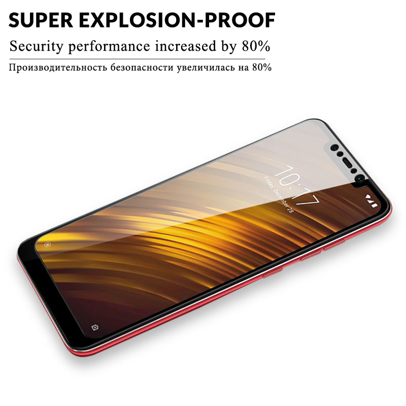 Image 4 - Tempered Glass For Xiaomi Pocophone F1 Screen Protector Protective Xiomi Pocophone F1 Full Cover Pocofone F1 Poco F1 Glass Film-in Phone Screen Protectors from Cellphones & Telecommunications