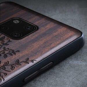 Image 2 - Novo Para Huawei Companheiro 20 Pro Caso Tampa de Madeira de Ébano Preto Para Huawei Companheiro 20 Esculpido Carros TPU Caso De Madeira para Huawei Companheiro 20 X Pro