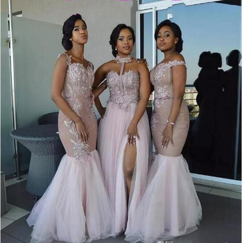 African Mermaid Bridesmaid Dresses Long Mixed Style Appliques Off Shoulder Wedding Guest Wear Split Side Maid Of Honor Gowns