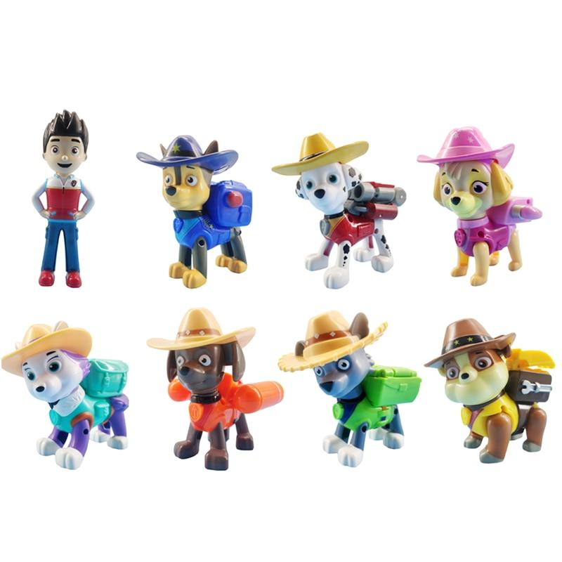 8Pcs/set Paw Patrol Straw Hat Rescue Dog Cartoon Model Everest   Patrol Pups Anime Action Figure Toy Child Birthday Xmas Gift