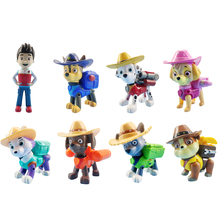 8Pcs/set Paw Patrol Straw Hat Rescue Dog Cartoon Model Everest   Patrol Pups Anime Action Figure Toy Child Birthday Xmas Gift zip front crop graphic pullover