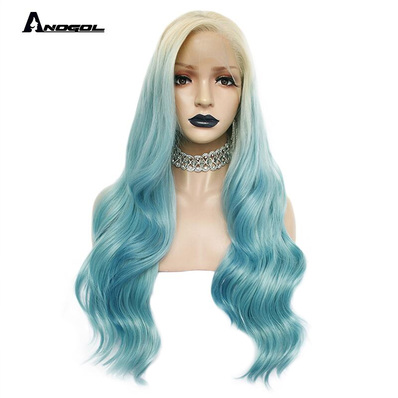 Anogol Ombre Blue Side Part Natural Long Body Wave High Temperature Fiber 613 Platinum Blonde Synthetic Lace Front Wig Cosplay