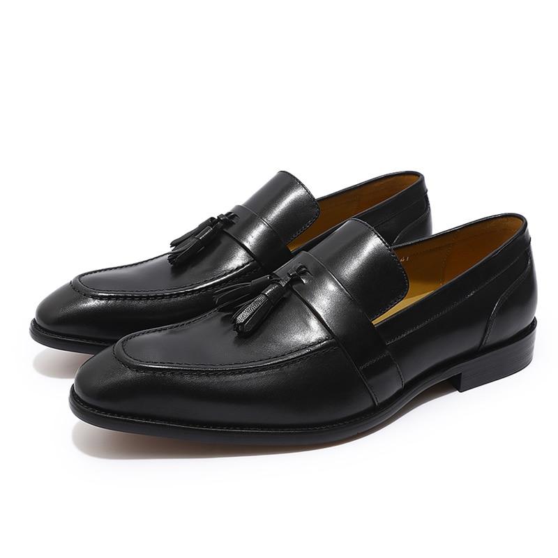 FELIX CHU peint à la main hommes marron noir gland mocassins en cuir véritable sans lacet hommes robe de mariée chaussures décontracté Business chaussure-in Chaussures décontractées homme from Chaussures    2