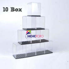 10 pcs / set Display Case / Dust-proof / Assembly Box Case Shop Window Base for lgoes Acrylic Blocks Display Plastic Cases