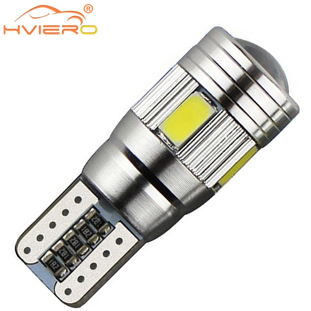 T10 W5W White Blue Red Car LED CANBUS Error Free 5730 6SMD 5630Lens 194 501 Interior Lamp Automobile Bulbs Side Marker Parking