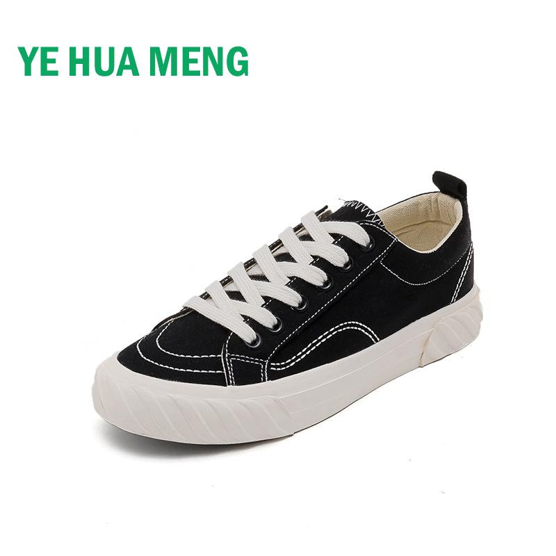 Spring Designer New Korean Trend Low Help Round Flat Women Black Canvas Shoes Net Red Star With Same Simple Walking Sneakers