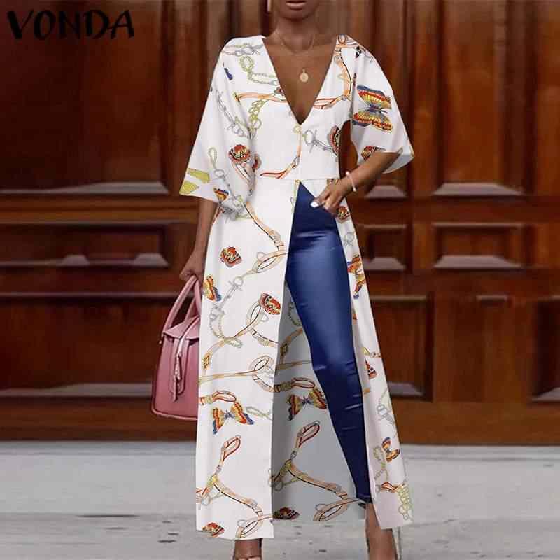 VONDA נשים ארוך חולצה בציר מודפס חולצות V צוואר שמלת פיצול המפלגה חולצות 2020 נשי מזדמן בתוספת גודל קיץ Blusa